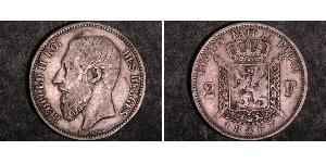 2 Franc Belgio Argento Leopold II (1835 - 1909)