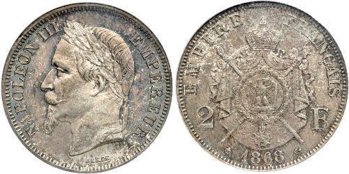 2 Franc Secondo Impero francese (1852-1870) Argento Napoleone III (1808-1873)