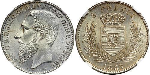 2 Franc Stato Libero del Congo (1885 - 1908) Argento Leopold II (1835 - 1909)