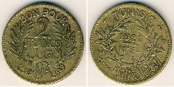 2 Franc Tunisia Bronze/Aluminium