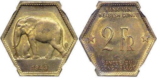 2 Franc Congo Belga (1908 - 1960) Latón