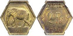 2 Franc Geschichte der Demokratischen Republik Kongo (1908 - 1960) Messing