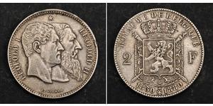 2 Franc Bélgica Plata Leopold II (1835 - 1909)