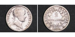 2 Franc Primer Imperio francés (1804-1814) Plata Napoleón Bonaparte(1769 - 1821)