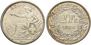 2 Franc Suiza Plata