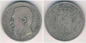 2 Franc Belgien Silber Leopold II (1835 - 1909)