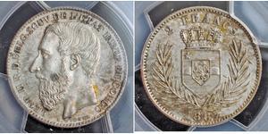 2 Franc Congo Free State (1885 - 1908) Silver Leopold II of Belgium(1835 - 1909)