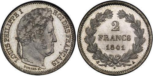 2 Franc July Monarchy (1830-1848) Silver Louis Philippe I of France (1773 -1850)