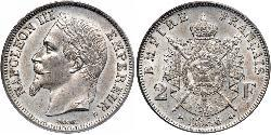 2 Franc Second French Empire (1852-1870) Silver Napoleon III (1808-1873)