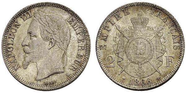 2 Franc Second French Empire (1852-1870) Silver Napoleon III (1808-1873)