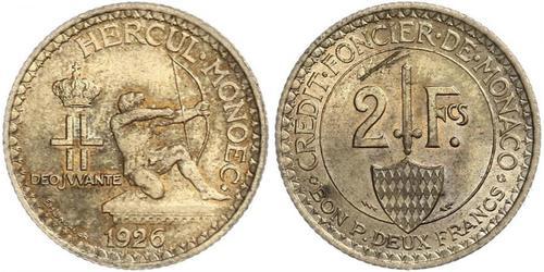 2 Franc Monaco  路易二世 (摩纳哥) (1870 - 1949)