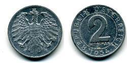 2 Grosh Allied-occupied Austria (1945-1955) / Republic of Austria (1955 - ) Aluminium