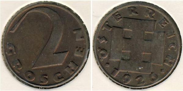 2 Grosh First Austrian Republic (1918-1934) Bronze