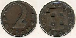 2 Grosh Federal State of Austria (1934-1938) Copper