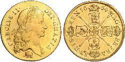 2 Guinea Reino de Inglaterra (927-1649,1660-1707) Oro Carlos II (1630-1685)