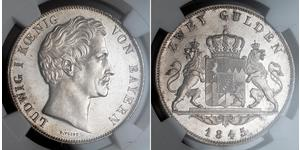 2 Gulden 巴伐利亞王國 (1806 - 1918) 銀 路德维希一世 (巴伐利亚)