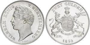 2 Gulden Kingdom of Württemberg (1806-1918) 銀 威廉一世 (符腾堡)