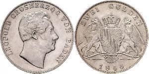 2 Gulden Grand-duché de Bade (1806-1918) Argent Léopold Ier de Bade(1790 – 1852)