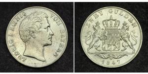 2 Gulden Royaume de Bavière (1806 - 1918) Argent Louis Ier de Bavière(1786 – 1868)
