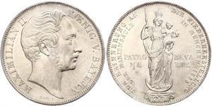 2 Gulden Royaume de Bavière (1806 - 1918) Argent Maximilien II de Bavière(1811 - 1864)