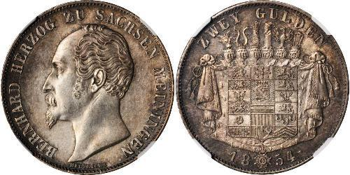 2 Gulden Ducado de Sajonia-Meiningen (1680 - 1918) Plata Bernardo II de Sajonia-Meiningen
