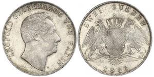 2 Gulden Gran Ducado de Baden (1806-1918) Plata Leopoldo I de Baden(1790 – 1852)