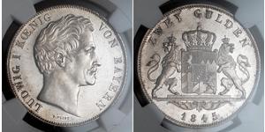 2 Gulden Königreich Bayern (1806 - 1918) Silber Ludwig I. (Bayern)(1786 – 1868)