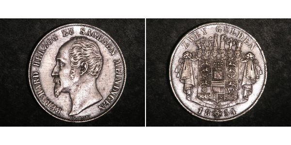 2 Gulden Duchy of Saxe-Meiningen (1680 - 1918) Silver Bernhard II, Duke of Saxe-Meiningen