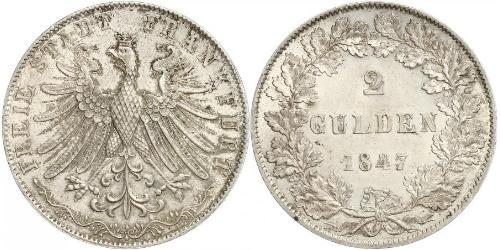 2 Gulden Free City of Frankfurt Silver