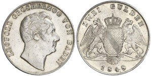 2 Gulden Grand Duchy of Baden (1806-1918) Silver Leopold, Grand Duke of Baden (1790 – 1852)
