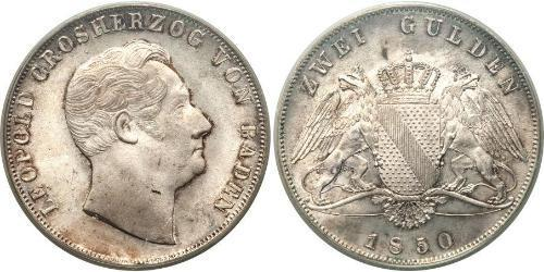 2 Gulden Grand Duchy of Baden (1806-1918) Silver Leopold, Grand Duke of Baden (1790 – 1852)