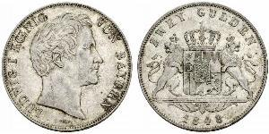 2 Gulden Kingdom of Bavaria (1806 - 1918) Silver Ludwig I of Bavaria (1786 – 1868)