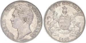 2 Gulden Kingdom of Württemberg (1806-1918) Silver William I of Württemberg