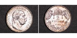2 Korona Imperio austrohúngaro (1867-1918) Plata Franz Joseph I (1830 - 1916)
