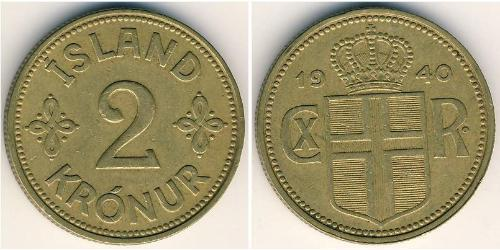 2 Krone Islandia Aluminio/Bronce