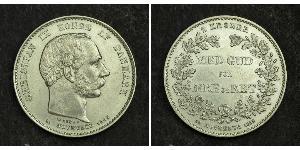 2 Krone Danimarca Argento Cristiano IX di Danimarca (1818-1906)