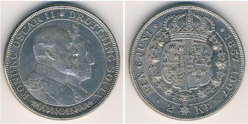 2 Krone Svezia Argento Oscar II di Svezia (1829-1907)