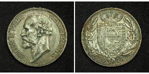 2 Krone Liechtenstein Plata Johann II, Prince of Liechtenstein (1840-1929)