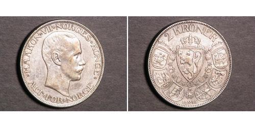 2 Krone Noruega (1905 - ) Plata Haakon VII de Noruega (1872 - 1957)