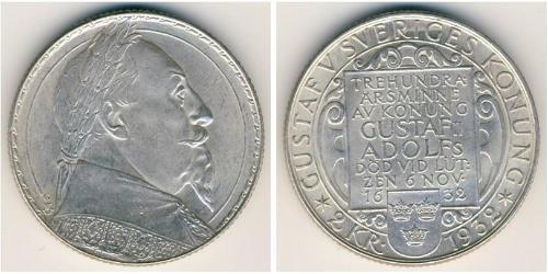 2 Krone Suecia Plata Gustavo II Adolfo de Suecia(1594 – 1632)