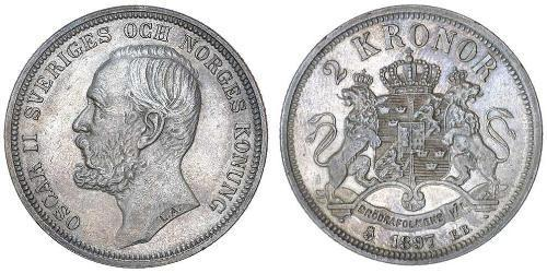 2 Krone Suecia Plata Óscar II de Suecia (1829-1907)