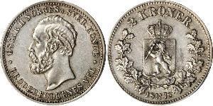2 Krone United Kingdoms of Sweden and Norway (1814-1905) Plata Óscar II de Suecia (1829-1907)