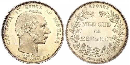 2 Krone Dänemark Silber Christian IX. von Dänemark (1818-1906)
