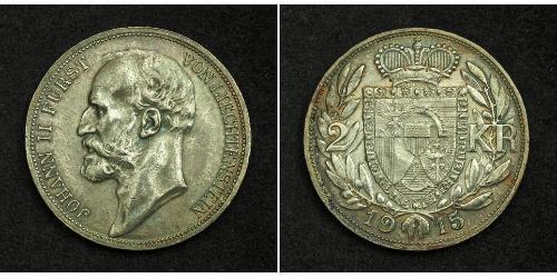 2 Krone Liechtenstein Silber Johann II, Prince of Liechtenstein (1840-1929)