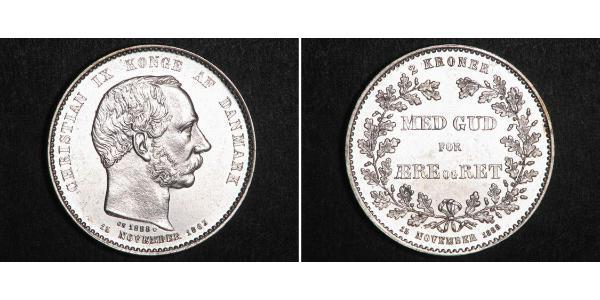 2 Krone Denmark Silver Christian IX of Denmark (1818-1906)