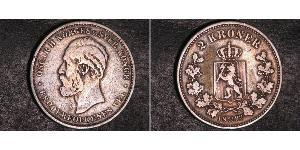 2 Krone United Kingdoms of Sweden and Norway (1814-1905) Silver Oscar II of Sweden (1829-1907)