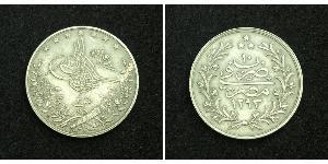 2 Kurush Ottoman Empire (1299-1923) Silver Abdul Hamid II (1842 - 1918)