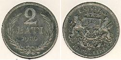 2 Lats Lettland Silber