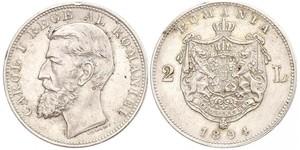 2 Leu Romania Argento Carlo I di Romania (1839 - 1914)
