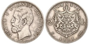 2 Leu Königreich Rumänien (1881-1947) Silber Karl I. (Rumänien) (1839 - 1914)